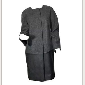 J.Crew collarless coat w/faux leather panel Size 6